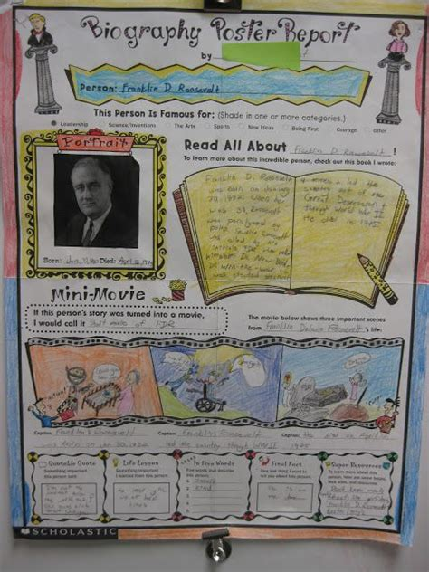 biography assignment for middle school biography posters these can be purchased from