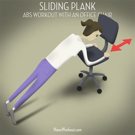 sliding plank abs workout with an office chair