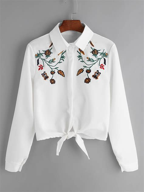 Floral Embroidered Shirts White flower embroidered tie front shirt shein sheinside