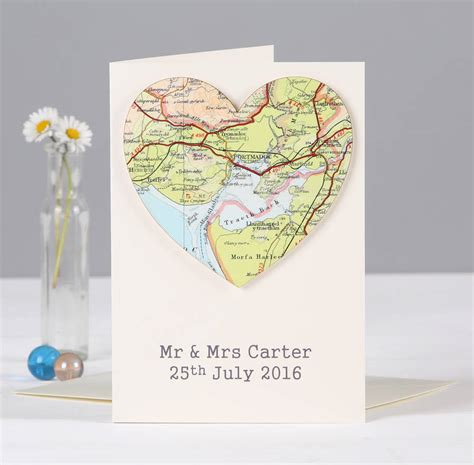 map card personalised map wedding and anniversary card by