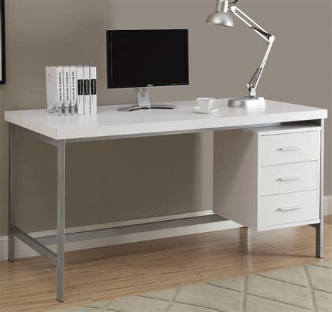 White Hollow Core Silver Metal 60in L Office Desk White Hollow Desk