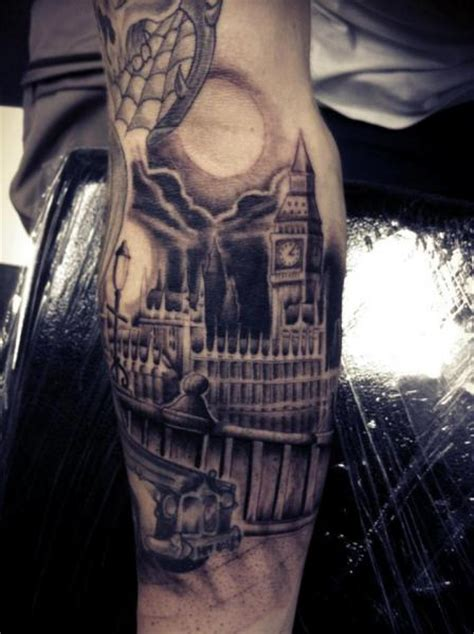 front arm tattoo arm realistic big ben by front line