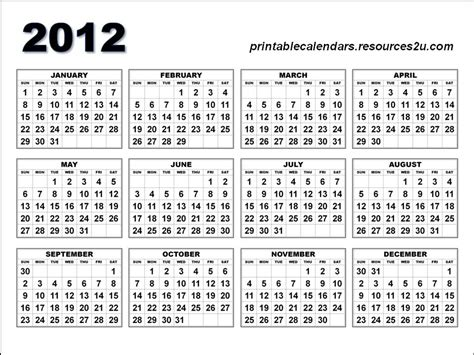 2012 Calendar Printable Free Printable Calendar 2012 Pictures 2 Apps Directories
