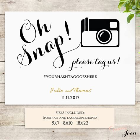oh snap printable wedding sign oh snap hashtag printable