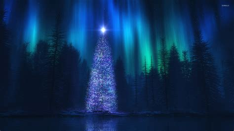 christmas tree in the forest wallpaper holiday