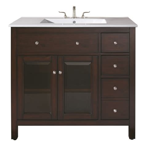 Bathroom Vanities Single 36 Inch Single Sink Bathroom Vanity With Ceramic Countertop And Integrated Sink Uvaclexingtonvs36le
