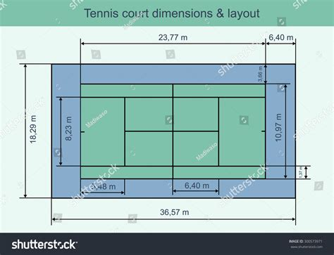 tennis court diagram with measurements big tennis court dimensions layout vector stock vector