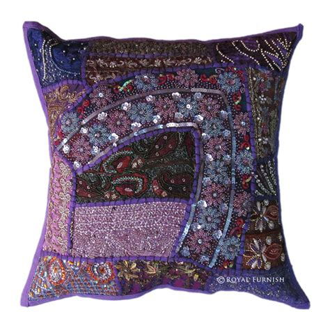 beaded throw pillows antique purple heavy beaded patchwork embroidered accent