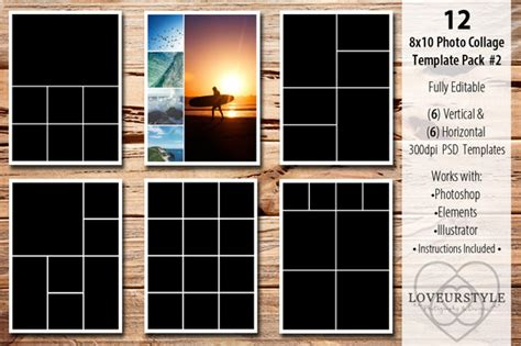 8x10 Photo Collage Template Pack 2 Templates On Creative Market 8x10 Album Template