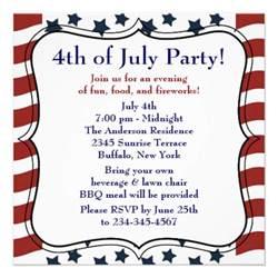 stripes 4th of july bbq invitation
