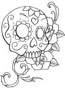 Coloring Page Sugar Skull Drawings sketch template