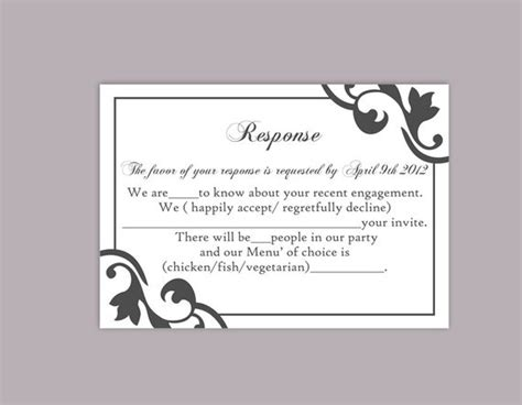dinner response card template diy wedding rsvp template editable text word file instant
