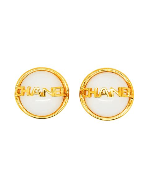 chanel vintage signature white gripoix earrings from