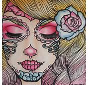 Tattoo Flash Art Print Day Of The Dead Girl Woman Illustration Cute