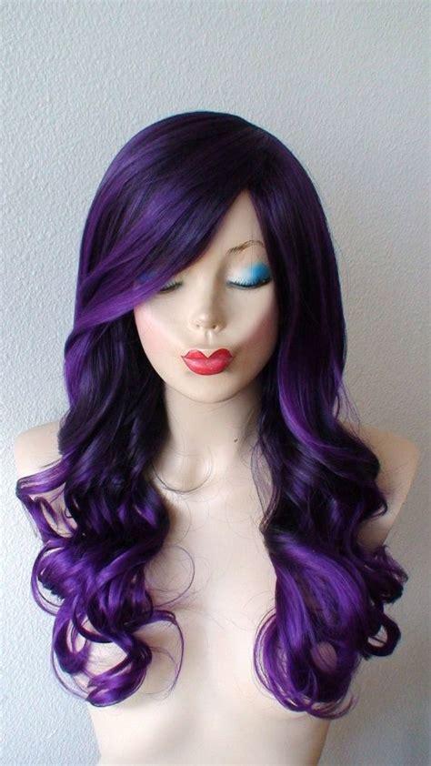 black hairstyles purple black purple purple ombre wig long volume curly by
