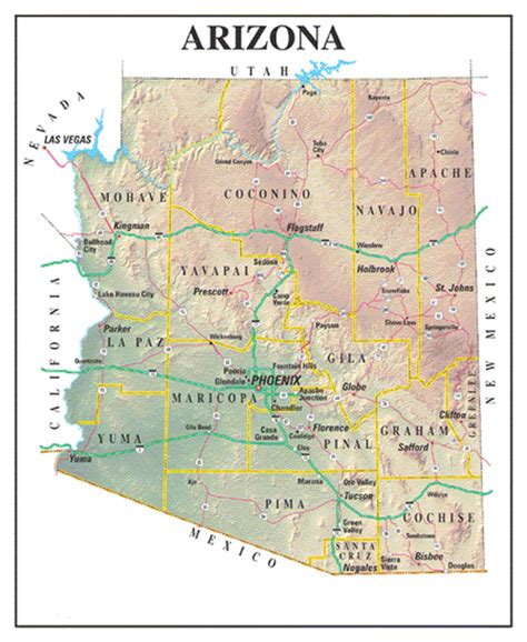 arizona county map with roads arizona maps and state information