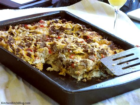 man meals sausage breakfast casserole kitchen bitch