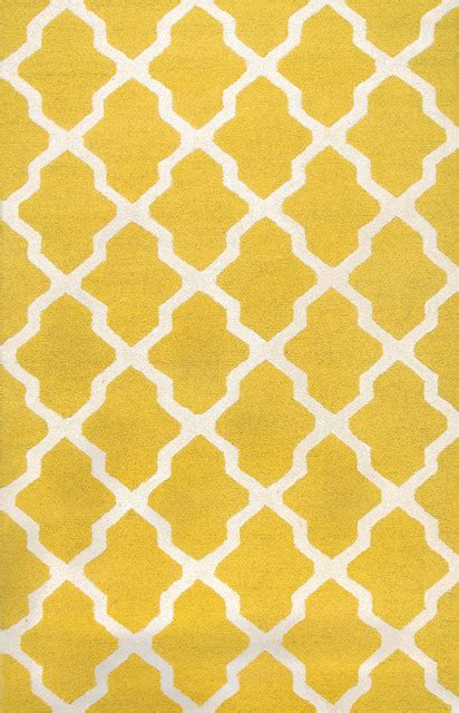 Rugsville rugsville moroccan trellis 10596 yellow ivory wool rug 8x10 amp reviews houzz