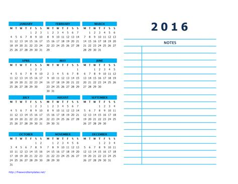 printable calendar room for notes 2016 calendar templates