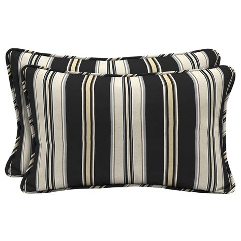 with black pillows hton bay black stripe lumbar outdoor throw pillow 2