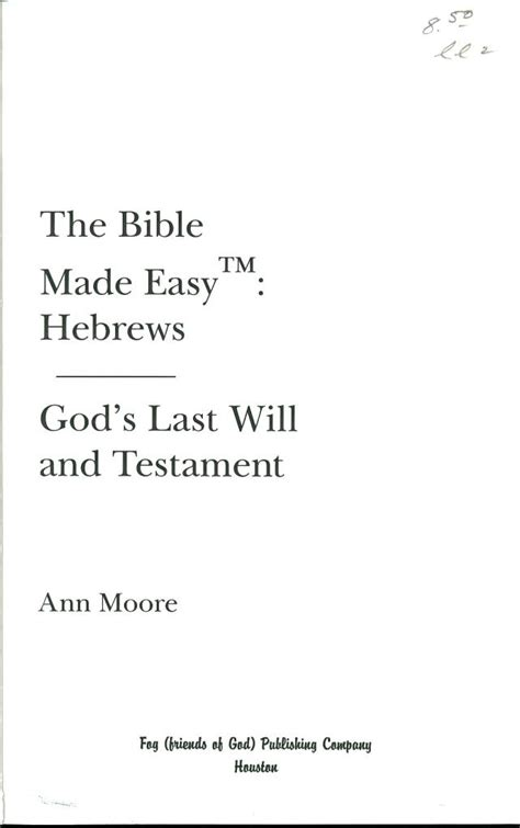 Ann Moore Internet Bible Catalog Last Will And Testament Cover Page Template