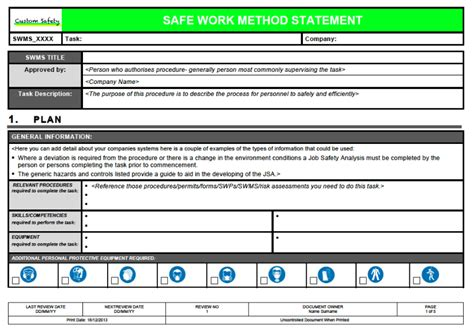 safe work method statement template landscape