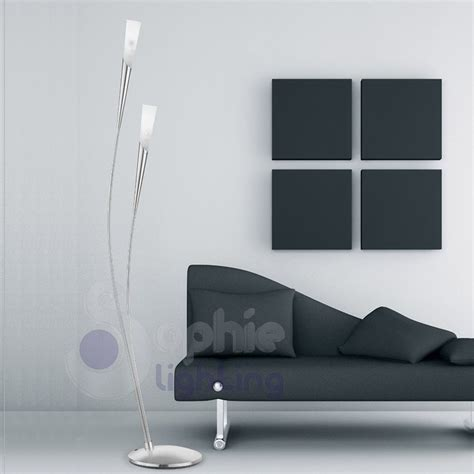 piantane moderne da soggiorno piantana 2 arcuata design moderno acciaio satinato