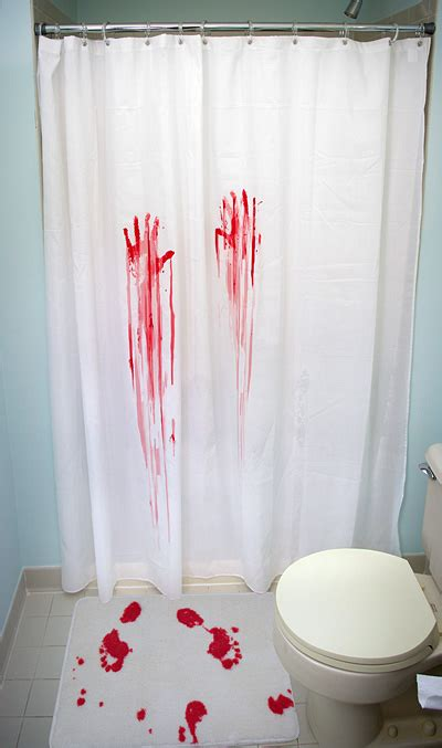 horror movie shower curtain bath home office thinkgeek