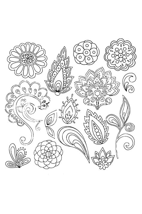 abstract henna mehndi vines and flowers paisley style