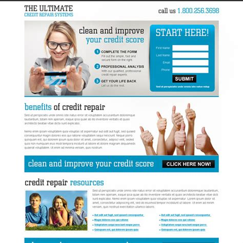 Credit Repair Landing Page Template Credit Repair Landing Page Design Template To Boost Your Credit Repair Business Page 3