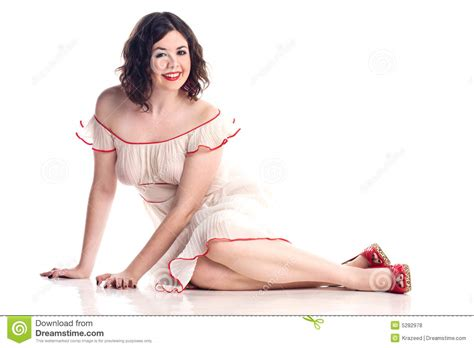 stylish quates poses girlz cute girl in pin up pose in sheer dress stock photo