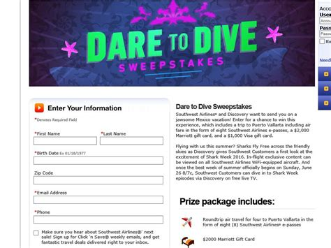 southwest airlines dare to dive sweepstakes sweepstakes fanatics - Southwest Airlines Sweepstakes 2016