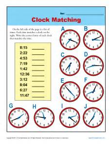 clock matching 3rd grade telling time worksheets
