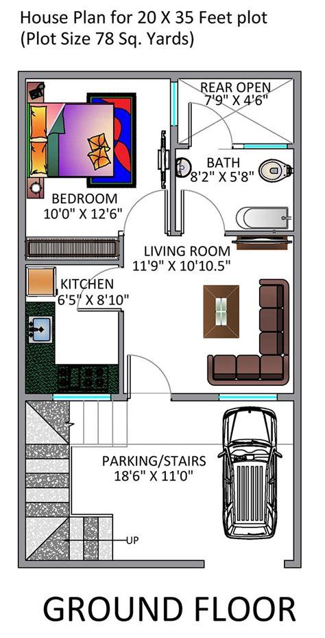 20 X 50 Square Feet Home Design by 1 Bhk Floor Plan For 20 X 35 Feet Plot 700 Square Feet