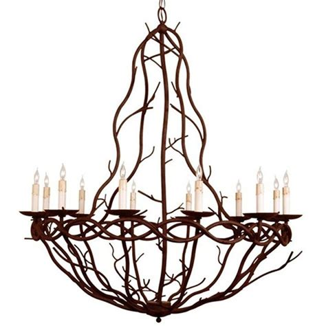 Twig Chandelier Rustic Iron Twig Chandelier Earthy Cottage