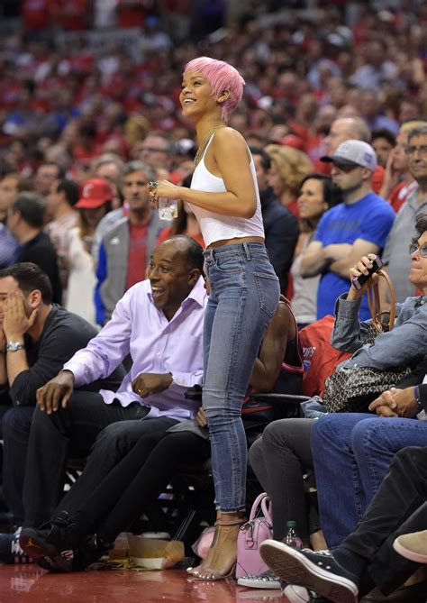 haircut games with clippers rihanna at the clippers game in los angeles may 2014