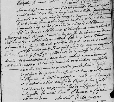 Beaumont Marriage Records Nadeau 26 September 1701 10 February 1766 Greenerpasture Genealogy