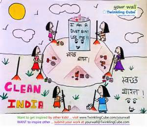 Twinkling cube swachh bharat concept art amp colouring by harshini