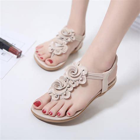 Sandal Heels Casual Wanita Yt 055 bohemia clip toe elastic casual flat sandals us 24 63