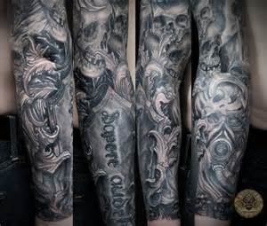 Horror viking tattoos on sleeve