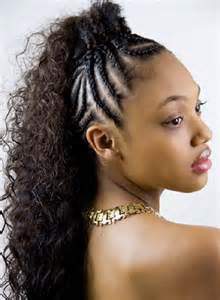 Braided mohawk hairstyles for black little girl with short and long