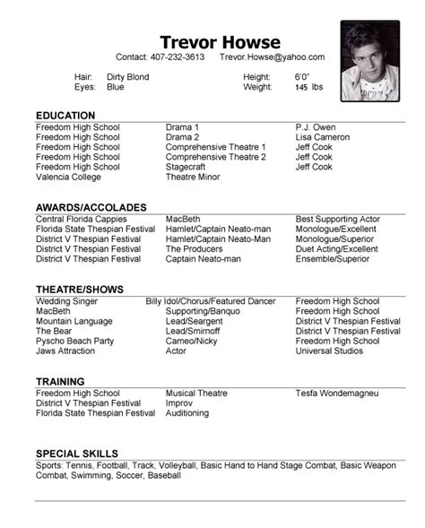 exle of model resume model resume template learnhowtoloseweight net