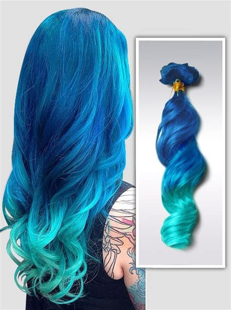 mermaid ombre colorful indian remy clip in hair extensions