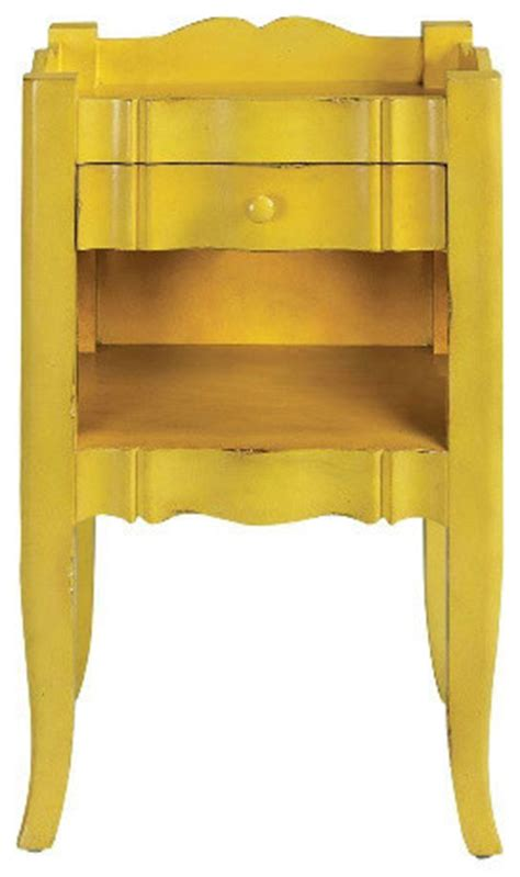 Yellow Bedside Table Emily Antique Yellow Side Table Traditional Nightstands And Bedside Tables By Home Depot