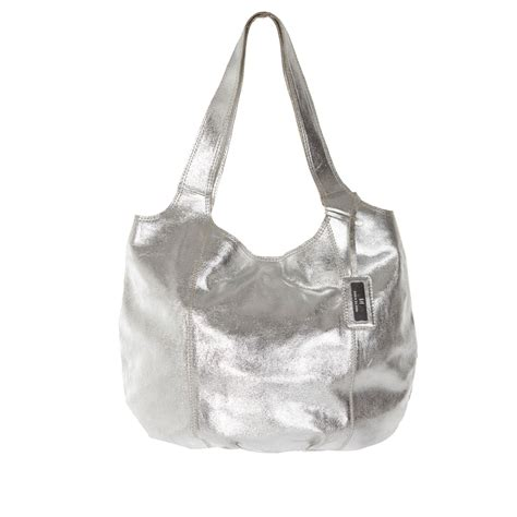 Slouch Bag by River Island Silver Metallic Leather Slouch Bag In
