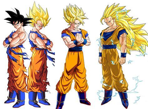 imagenes de goku todas las transformaciones goku en todas sus transformaciones imagui