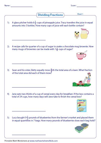 Multiplying Fractions Word Problems Worksheets by Multiplying And Dividing Fractions Word Problems