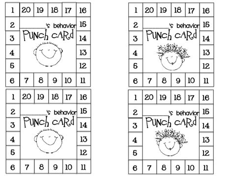 student punch card template behavior 8 best images of printable punch cards positive behavior