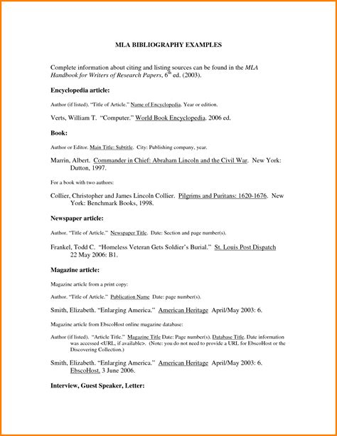 Mla Bibliography Exle And Citations Mla Citation Format Template