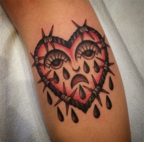 crying heart tattoo 63 saddest ideas stock golfian